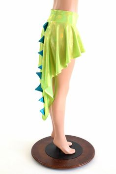 Holographic Dragon Tail Skirt in Lime Holographic with Peacock Holographic Spikes & Hi Lo Hemline 152850