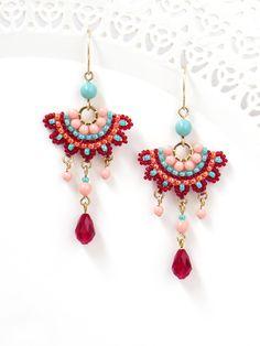 Fashion earrings, Colorful chandelier earrings, Festival earrings for women, Swarovski crystal boho chic earrings, Funky earrings - Swarovski Crystal Earrings, Women's Earrings, Crochet Earrings, Bridal Earrings, Funky Earrings, Earrings Handmade, Vintage Earrings, Diamond Chandelier Earrings, Diamond Jewelry