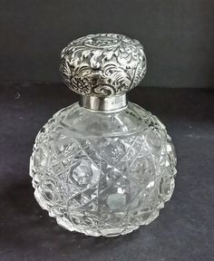 Victorian Sterling Silver Lid & Cut Glass Perfume Bottle c.1829