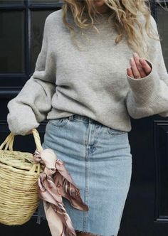 soft sweater + jean skirt @dcbarroso