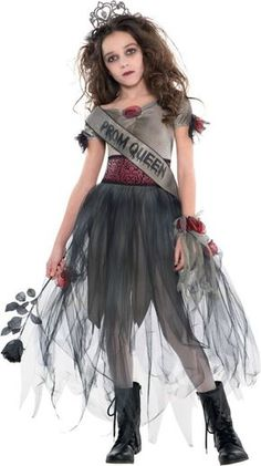 Your little zombie will love tick-or-treating in this Prom Corpse Halloween Costume. This spooky costume comes with a dress, crown, and coordinating bracelet. Just add some spooky zombie makeup to complete the look. Zombie Halloween Costumes, Zombie Prom Queen Costume, Hallowen Costume, Bride Costume, Halloween Fancy Dress, Halloween Outfits, Halloween Kids, Vampire Costumes, Costume Ideas