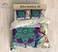 Bohemian bedding, Mandala duvet cover set, Sacred balance lotus mandala bedding, Boho chic bedroom interior | ARTBEDDING.us