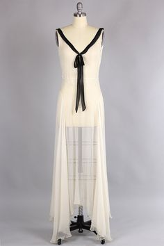 1930s Silk Chiffon Bias Cut Gown