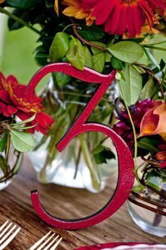 Red Glitter Wooden Wedding Table Numbers by companyfortytwo