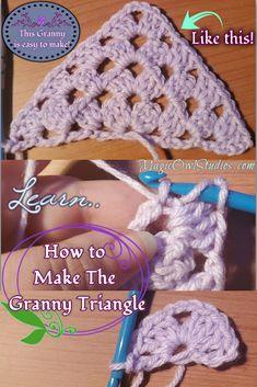 Crochet Triangle Pattern, Crochet Lovey Free Pattern, Crochet Leaf Patterns, Beginner Knitting Patterns, Crochet Squares, Crochet Granny, Crochet Shawl, Crochet Designs, Crochet Stitches