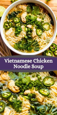 Vietnamese chicken noodle soup with ramen noodles, ginger, bok choy, and fresh sprouts. It's such a delicious take on chicken soup. Veggie Soup Recipes, Meatless Recipes, Quick Dinner Recipes, Pork Noodle Soup, Pork Noodles, Pinterest Recipes, Yummy Appetizers, Chicken Soup, Comfort Foods