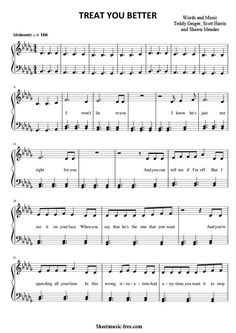 Treat You Better Sheet Music Shawn Mendes Download Treat You Better Piano Sheet Music Free PDF Download