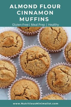 Made with almond flour cinnamon coconut oil and sweetened with maple syrup. So easy to make try a batch of these healthy muffins for a grab and go breakfast or make-ahead healthy snack. Muffins Sans Gluten, Almond Flour Muffins, Baking With Almond Flour, Cinnamon Muffins, Almond Flour Recipes, Almond Flour Cakes, Healthy Muffin Recipes, Healthy Muffins, Healthy Dessert Recipes