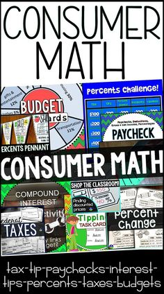 Consumer Math Activities Bundle This bundle includes a variety of activities for teaching financial literacy. From tipping to filing taxes to working . 6th Grade Activities, 7th Grade Math, Math Class, Math Education, Business Education, Teaching Life Skills, Teaching Tips, Teaching Math, Maths
