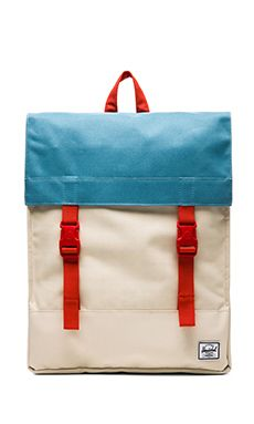 Herschel Supply Co. Rad Cars Collection Survey Backpack in Bone & Punch Bug Blue & Synchro Red | REVOLVE