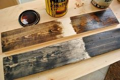 How to make new wood look old. Great tutorial on how to make new wood look reclaimed. #hesterway #reclaimed wood #diy #staining