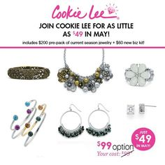 Join Cookie Lee for as little as $49 in May! Includes jewelry worth 200 dollars and everything to get started!  www.cookielee.biz/reginastillsmoking
