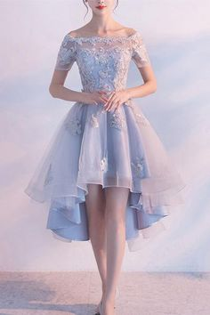 Prom Dresses With Appliques, High Low Prom Dresses, Light Blue Prom Dresses, Lace Prom Dresses, Prom Dresses Sexy Homecoming Dresses 2018 Homecoming Dresses Tight, High Low Prom Dresses, Backless Prom Dresses, Tulle Prom Dress, Prom Dresses Blue, Tight Dresses, Pretty Dresses, Sexy Dresses, Formal Dresses