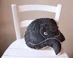 black cat  nap decorative pillow cat cushion gift idea by MosMea, €33.00