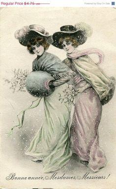ON SALE - Original French vintage illustration postcard - Two ladies in the snow - Victorian Paper Ephemera