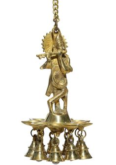 Lord Krishna Hanging Diya/Lamp With Bell / Lord Krishna Deepam Stand Krishna Statue, Krishna Radha, Lord Krishna, Diwali Gift Items, Diwali Gifts, Decorative Bells, Decorative Items, Diya Lamp, Inauguration Ceremony