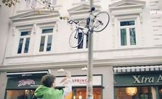 Pole-climbing bike lock hoists bikes beyond the reach of would-be thieves Bicycle Lock, New Bicycle, Creative Words, Creative Design, Creative Ideas, Pole Climbing, Green Technology, Bike Parking, Bike Storage