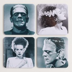These Halloween-themed coasters feature close up images of Frankenstein's monster and the Bride of Frankenstein from the original movie. >> #WorldMarket Halloween