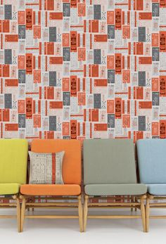Mini Moderns Hold Tight Wallpaper - Harvest Orange - produced in collaboration with the London Transport Museum Orange Wallpaper, New Wallpaper, Modern Wallpaper, Closet Wallpaper, Wallpaper Online, Geometric Wallpaper, Wallpaper Ideas, Look Retro, Latest Wallpapers