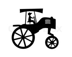 Stock vector of 'vector silhouette of the old tractor on white background'