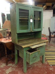 Early 1800s Antique Milk Paint Green Primitive All Original Cupboard Cabinet
