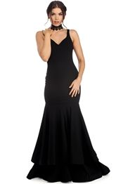 Thalia Black Tiered Mermaid Dress
