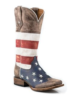 Roper Womens Americana Brown Collection American Flag Square Toe Leather Cowboy Boots