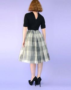 1950s Dress Full Tulle Skirt Black White Plaid XXS. $145.00, via Etsy.