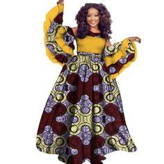 Autumn African Dress For Women Private Custom Long Sleeve Floor-Length For Women African Dresses For Women, African Print Dresses, African Attire, African Fashion Dresses, Fashion Outfits, Ankara Dress, Aso Ebi, African Design, African Beauty