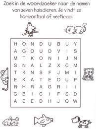 woordzoeker dieren hoofdletters oefenen