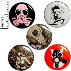 Punk Rock 5 Pack Buttons for Backpacks Pins or Magnets Dieselpunk Funny Buttons, Cool Buttons, Metal Buttons, Steampunk Gas Mask, Steampunk Cosplay, Bag Pins, Jacket Pins, Steampunk Design, Pin Badges