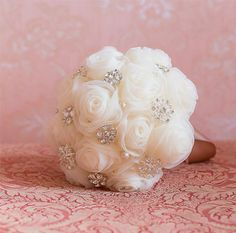 Brides Bridesmaids Brooch Bouquet  Jewelled Wedding Accessory Handmade Flowers Cream Chiffon on Etsy, $171.43