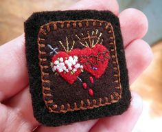Embroidered Brown Scapular: Golden Monstrance and Sacred and