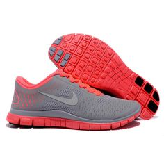 dde37edd958055 2013 Damen Nike Free Run 4.0 V2 Grau Rot Baskets