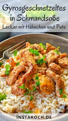 * Sliced gyros in sour cream sauce with rice - super tasty with chicken or turkey Great Super My simple recipe for gyr. Rice Recipes, Low Carb Recipes, Salad Recipes, Chicken Recipes, Cooking Recipes, Sauce A La Creme, Sour Cream Sauce, Salad Menu, Healthy Cooking