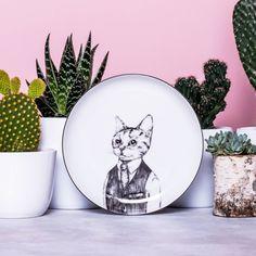 European Cat Porcelain Dessert Plate Hand by GiftWorkshopWarsaw