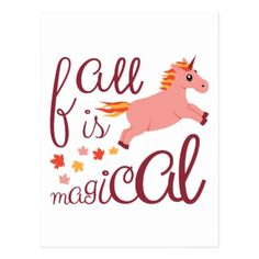 Fall Is Magical  Maroon Blush Color Unicorn Postcard - autumn gifts templates diy customize