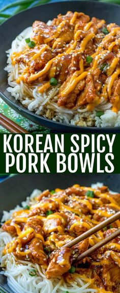 This Korean Spicy Pork Bulgogi Bowl recipe is a deliciously fun, tasty, spicy and sweet recipe that needs to be on your must make list this year! # via food recipe bulgogi Korean Spicy Pork Bowls {A Sweet Heat Dish that is Full of Flavor} Spicy Recipes, Sweet Recipes, Chicken Recipes, Cooking Recipes, Healthy Recipes, Easy Recipes, Korean Food Recipes, Ethnic Food Recipes, Cooking Bacon