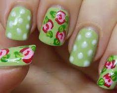 Vintage Rose and Green with Polka Dots Nail Art