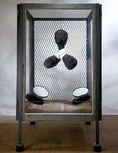 Louise Bourgeois CELL XXIV (PORTRAIT), 2001. Steel, stainless steel, glass, wood and fabric, 70 x 42 x 42 inches 177.8 x 106.7 x 106.7 centimeters