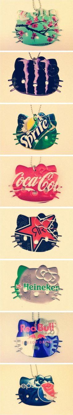 Very cute and creative Hello Kitty necklaces made out of soda cans! Simply amazing! #Japaneasy