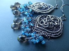 Wire Wrapped Sterling Silver Dangle Earrings by LovePotionDesign, €198.00