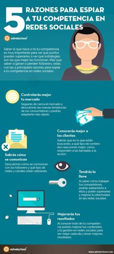 5 razones para espiar a tu competencia en redes sociales. Infografía en español. #CommunityManager