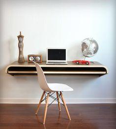 Floating Wall Desk in Rift Oak by Botanist on Scoutmob Shoppe. Versatile minimalist floating wall desk in oak. $700