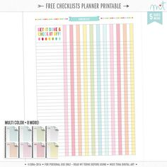 p l a n n e r  f r e e b i e Get it done and check it off with these free checklist printables in rainbow + 8 more colors! *Upd…