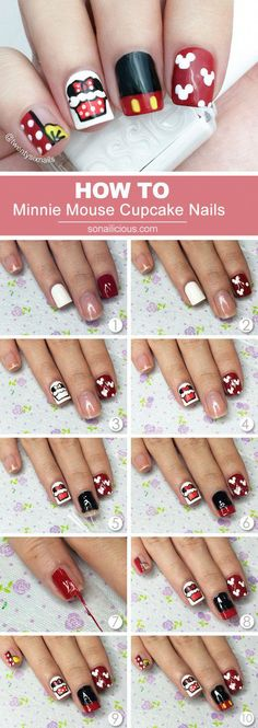 Do you like cute nails? Was Minnie Mouse your favorite cartoon character? This nail art tutorial is for you! Learn how to do cute Minnie Mouse Nails in. Trendy Nail Art, New Nail Art, Nail Art Diy, Easy Nail Art, Cool Nail Art, Ongles Mickey Mouse, Minnie Mouse Nails, Nail Art Designs, Nails Design