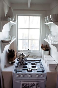 Great shelving idea for a small kitchen space.