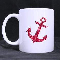Bright Red Anchor best gift Custom Photo Mugs * Special cat product just for you. : Cat mug