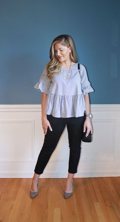 ruffle peplum top, black crop pants, spring fashion, www.outfitted411.blogspot.com