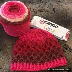 Free Crochet Pattern - Adult Lattice Hat - created from a free pattern by Sarah Arnold - Caron Cakes Cherry Chip Yarn